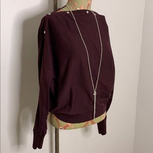 All Saints Sweaters - Flowy boatneck sweater with snaps at neck